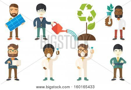 Man watering a tree with a recycle sign instead of crown. Man taking care of green tree with recycle symbol. Concept of recycling. Set of vector flat design illustrations isolated on white background.
