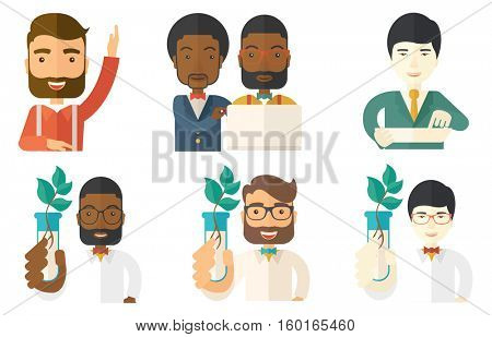 Scientist holding test tube with young plant. Scientist analyzing plant in test tube. Scientist holding test tube with sprout. Set of vector flat design illustrations isolated on white background.
