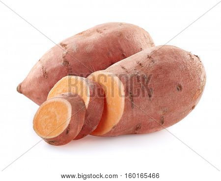 Sweet potato with slices on a white background