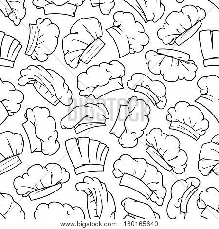 Chef hat, baker toque and cook cap seamless pattern background with sketches of uniform headwear of kitchen staff