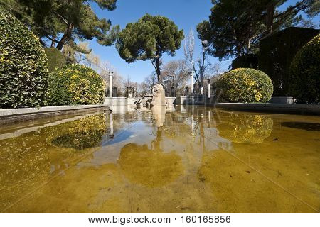 Small pond in Cecilio Rodriguez Gardens, Retiro Park, Madrid Spain