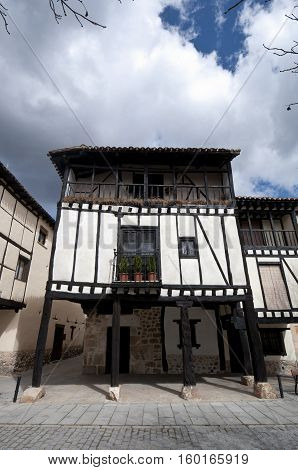 Traditional houses in Covarrubias, province of Burgos, Spain
