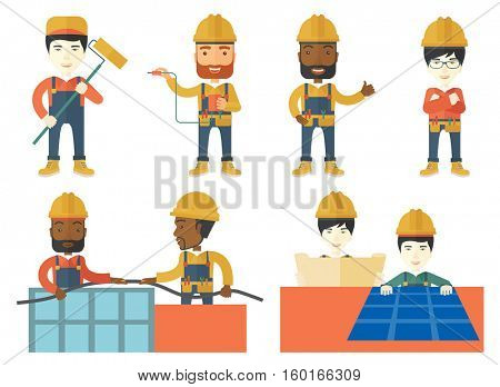 Electrician at work. Electrician in helmet measuring the voltage output. Electrician in hard hat working with electrical equipment. Set of vector flat design illustrations isolated on white background