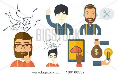 Businessman pointing finger up during process of business thinking. Businessman looking up and thinking. Business thinking concept. Set of vector flat design illustrations isolated on white background