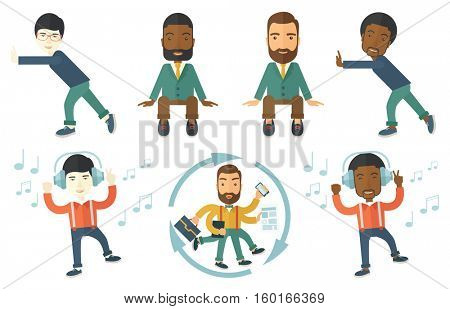 Happy man dancing while listening to music. Young man listening to music in headphones. Man with eyes closed enjoying music. Set of vector flat design illustrations isolated on white background.
