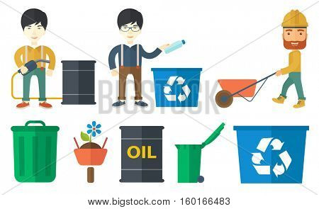 Joyful man throwing away used plastic bottle in recycling bin. Man collecting garbage in recycle bin. Waste recycling concept. Set of vector flat design illustrations isolated on white background.