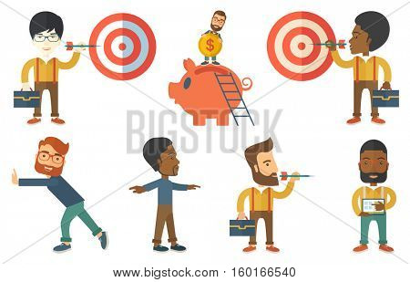 Young bsinessman shooting in business goal. Concentrated businessman aiming at business goal. Concept of business goal and target. Set of vector flat design illustrations isolated on white background.