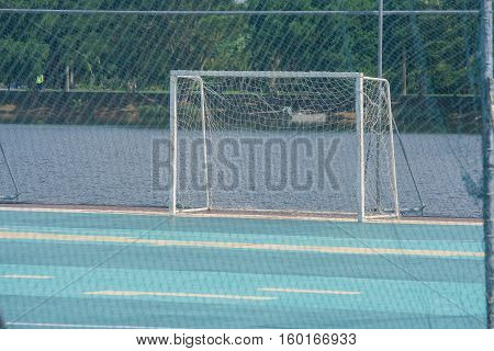 Floating soccer field at public park outdoor.