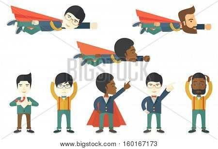 Businessman flying in superhero style. Young businessman in superhero costume. Businessman dressed as a superhero in red cape. Set of vector flat design illustrations isolated on white background.