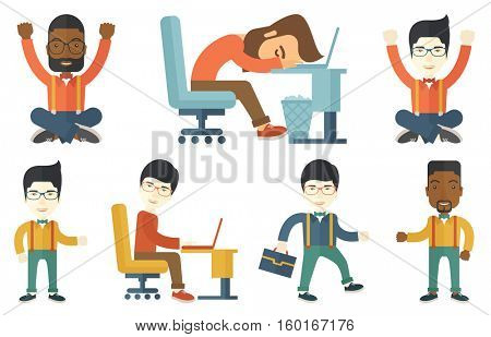 Overworked employee sleeping in office. Overworked employee resting at workplace. Overworked employee working on a computer. Set of vector flat design illustrations isolated on white background.