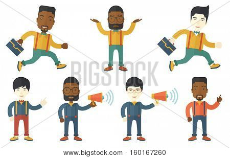 Young businessman pointing up with his finger at something. Businessman pointing finger up. Businessman gesturing with his finger. Set of vector flat design illustrations isolated on white background.