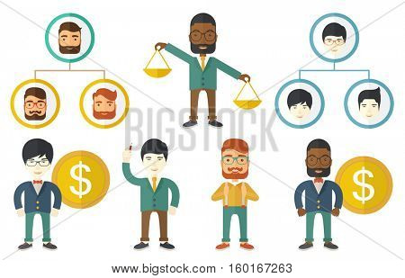 Corporate hierarchy structure with business people. Business people arranged in a hierarchy. Concept of teamwork and business hierarchy. Set of vector illustrations isolated on white background.