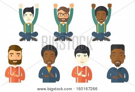 Happy businessman celebrating a triumph with arms up. Businessman celebrating success in business. Celebration of business success concept. Set of vector illustrations isolated on white background.