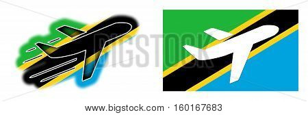 Nation Flag - Airplane Isolated - Tanzania