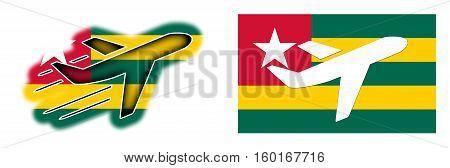 Nation Flag - Airplane Isolated - Togo