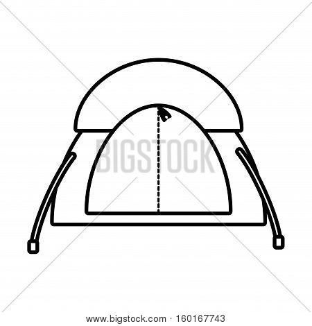 outline dome tent hiking forest camping vector illustration eps 10