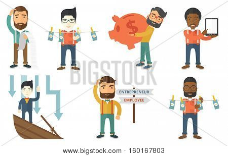 Business criminal drying dollars on clothesline. Business criminal laundering money. Money laundering and business crime concept. Set of vector flat design illustrations isolated on white background.