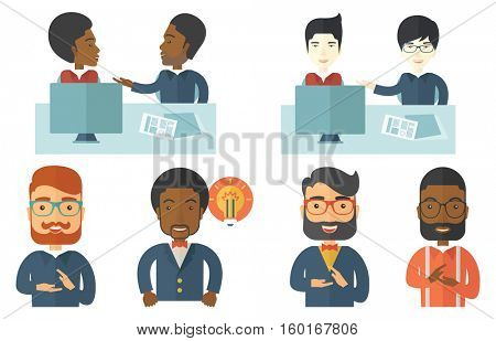 Two young businessmen using computer at meeting. Business partners discussing legal documents at business meeting. Business meeting concept. Set of vector illustrations isolated on white background.