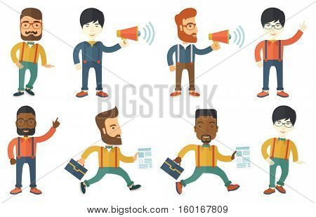 Hipster businessman making a public announcement. Businessman announcing through megaphone. Concept of business announcement. Set of vector flat design illustrations isolated on white background.