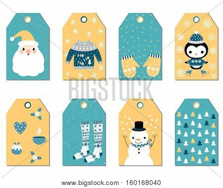 Set of Christmas gift tags with Santa sweater stockings mittens penguin