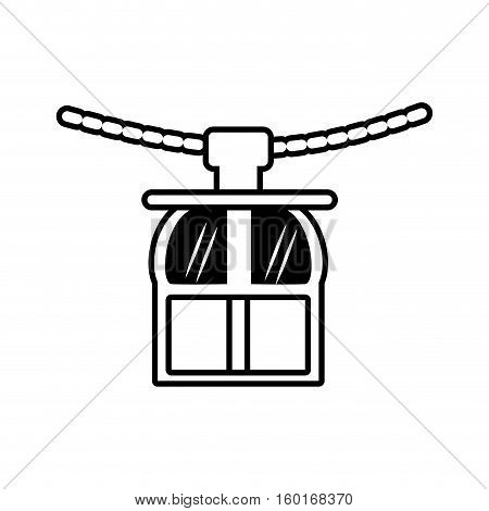 outline rope way cabine gondola vacation travel vector illustration eps 10