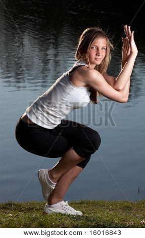 Young Woman Yoga Lake