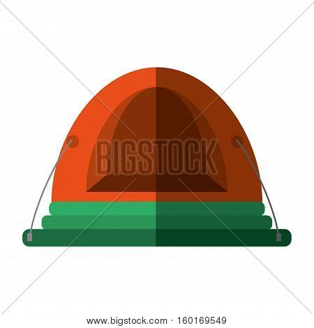 orange dome tent hiking forest camping shadow vector illustration eps 10