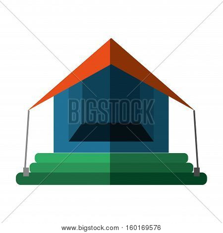 orange and blue tourism tent camping excursions shadow vector illustration eps 10