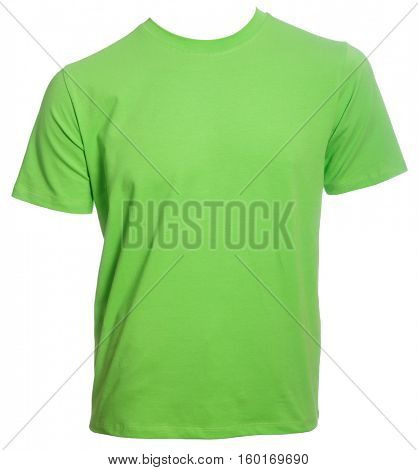 Light green T-Shirt blank template isolated on a white background