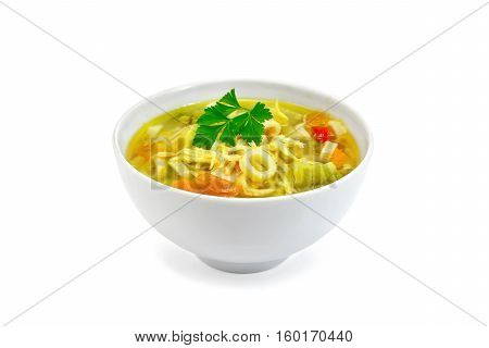 Soup Minestrone With Parsley In White Bowl