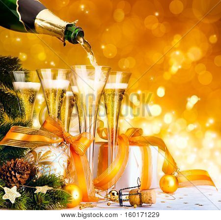 Christmas greeting card ( glasses of champagne Christmas tree and gifts New Year party )