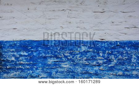 this is a wall with 2 color it is wall hom with neighbour. white and blue color