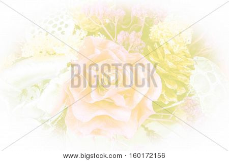 Detail of a colorful bouquet of dried flowers with color filter