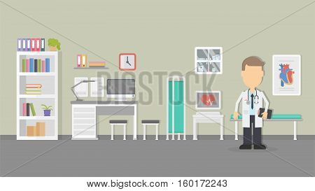 Cardiologist office interior image. flat design illustration