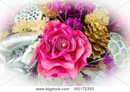 Detail of a colorful bouquet of dried flowers