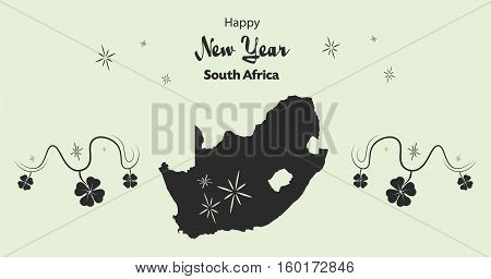 Happy New Year Illustration Theme With Map Of South Africa