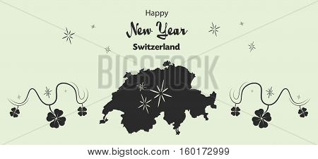 Happy New Year Illustration Theme With Map Of Switzerland