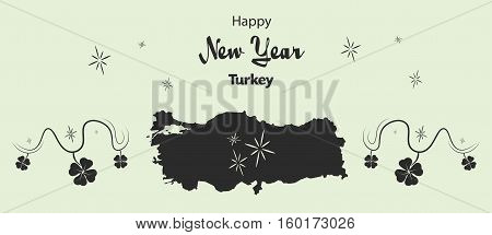 Happy New Year Illustration Theme With Map Of Turkey