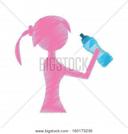 girl holding bottle water refreshing vector illustration eps 10