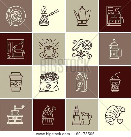 Coffee making equipment vector line icons. Elements - moka pot, french press, grinder, espresso, cup, beans, croissant. Linear pictogram with editable stroke for restaurant menu.