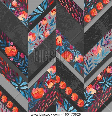 Chevron pattern with watercolor flowers. Background with hand painted floral elements and grunge texure. Monochrome colored pattern