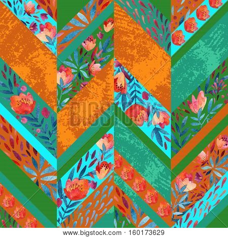 Chevron pattern with watercolor flowers. Background with hand painted floral elements and grunge texure. Vibrant colored pattern for summer design