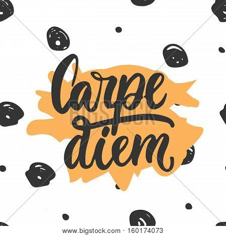 Carpe diem - hand drawn lettering phrase means seize the day isolated on the white background. Fun brush ink inscription for photo overlays, greeting card or t-shirt print, poster design.