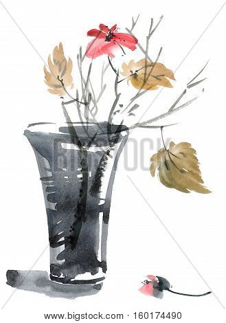 Watercolor and ink illustration of flower and leaves in vase. Sumi-e u-sin style. Oriental traditional painting.