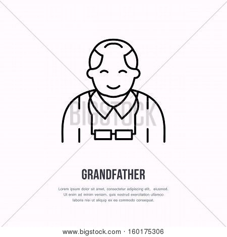 Vector line icon of happy old person. Nursing home sign, linear logo. Outline symbol of grandfather, elderly care. Design element for sites, senior hospital.
