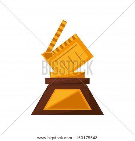 clapper film trophy awards golden vector illustration eps 10