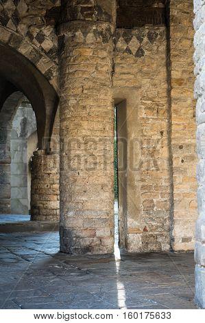 Bergamo, Citta Alta, Italy. Columns near the Church Basilica Santa Maria Maggiore.