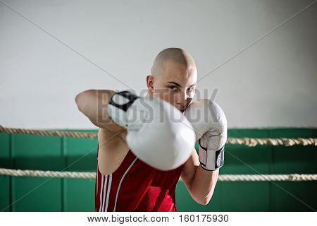 portrait of male boxer standing in the ring