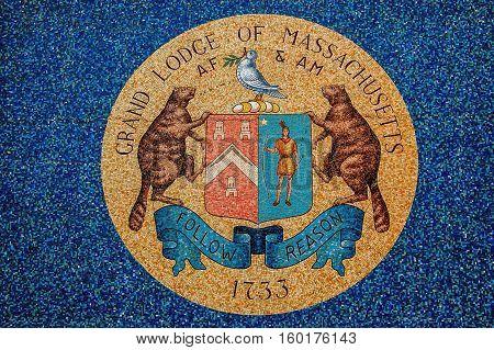 Boston, MA, USA 25 Jul. 2009: Emblem of Grand Lodge of Masons in Massachusetts.