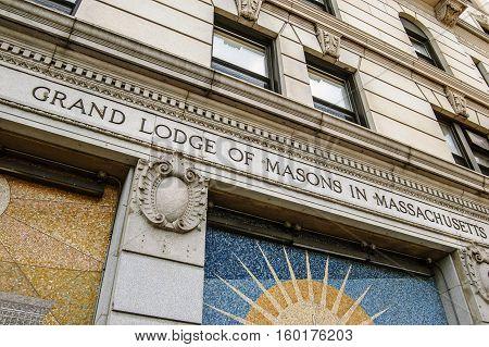Boston, MA, USA 25 Jul. 2009: Facade Building of Grand Lodge of Masons in Massachusetts.